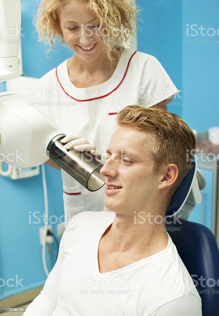 Teenager Having X-ray Imaging at Dentist Office. royalty-free stock photo
