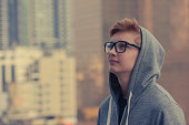 Teenager hipster boy outdoors