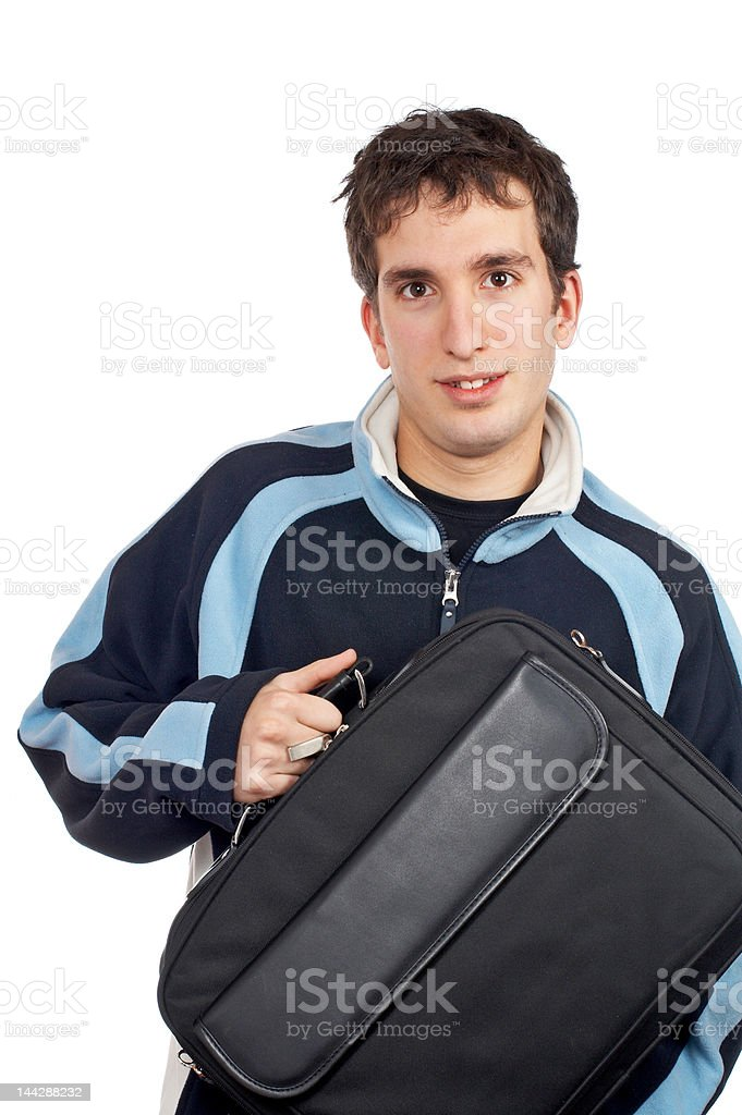 Teenager holding a laptop bag royalty-free stock photo