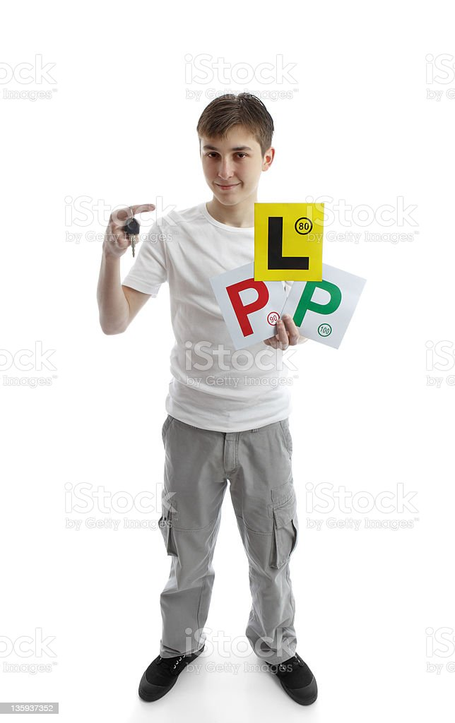 teenager holding car key and learner licence plates royalty-free stock photo