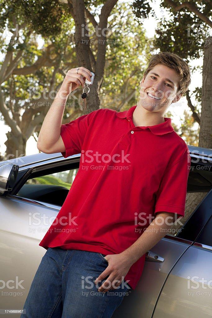 Teenager Holding Car Keys stock photo