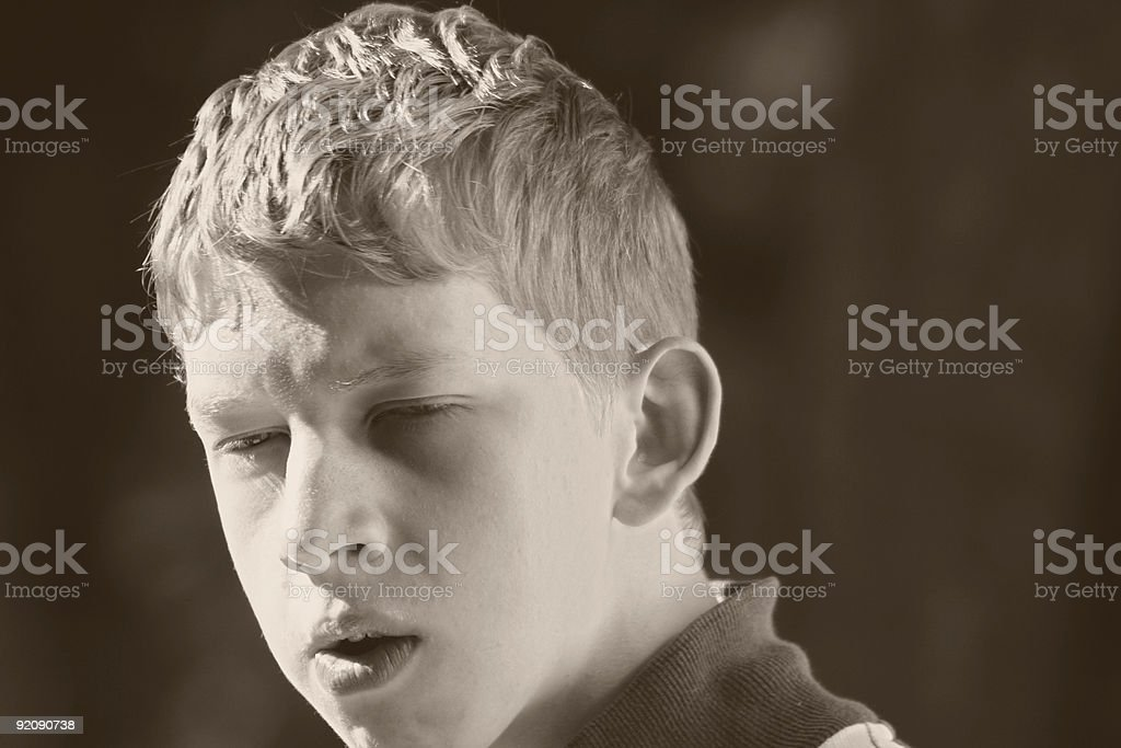 teenager in a bad temper stock photo