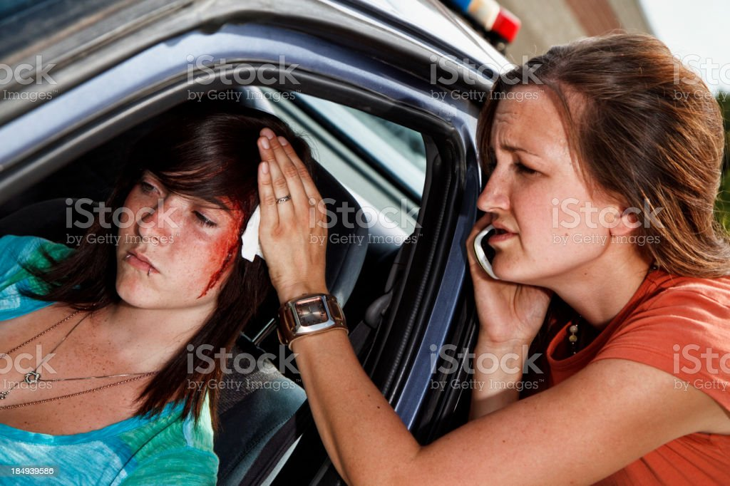 Teenager In A Car Accident, Head Injury royalty-free stock photo