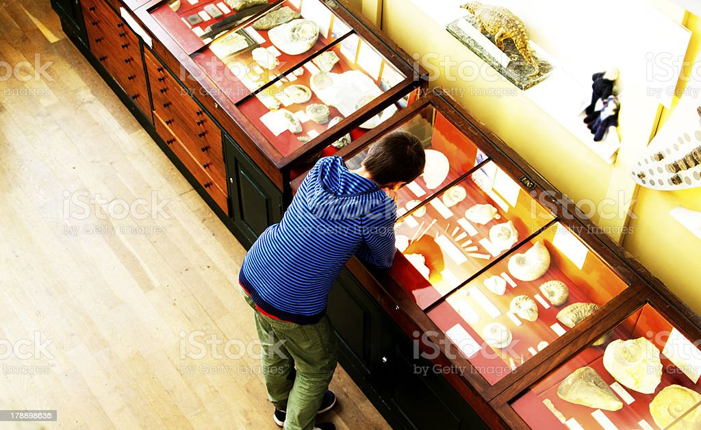 Teenager in a Museum stock photo
