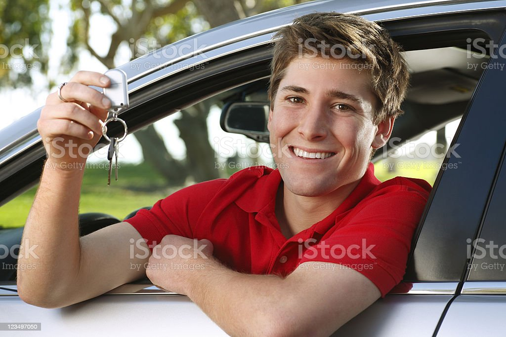 Teenager in new car royalty-free stock photo