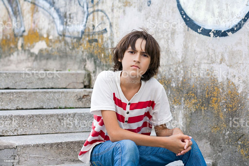 teenager in the street royalty-free stock photo