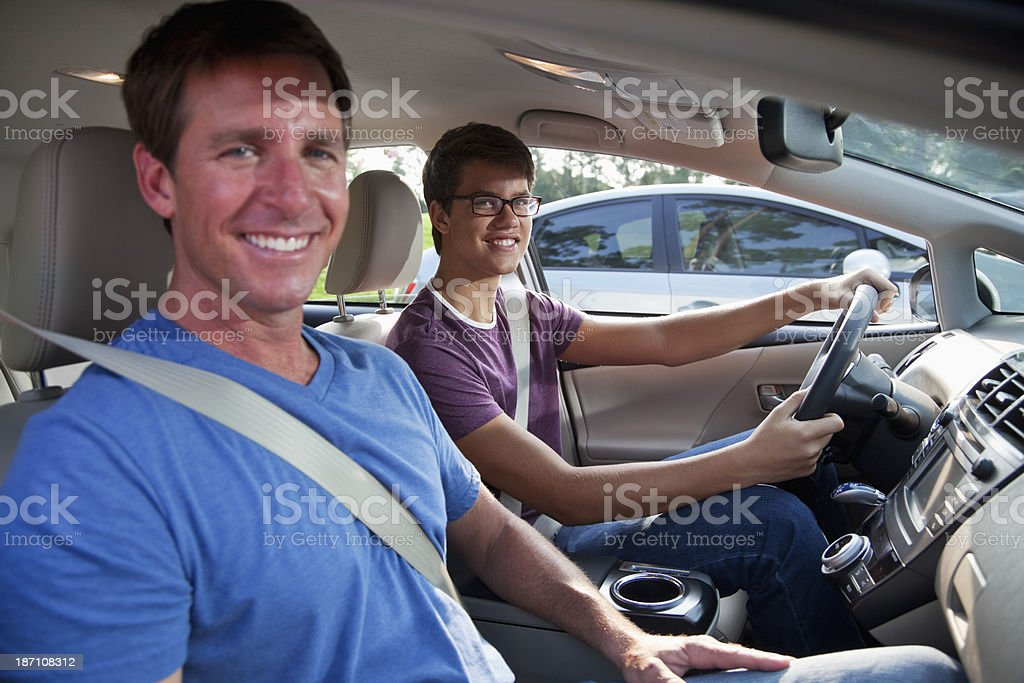 Teenager learning to drive royalty-free stock photo