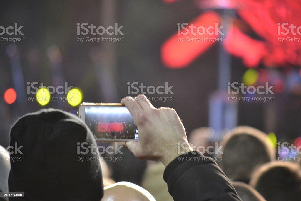 Teenager Photo Musical concert smartphones stock photo