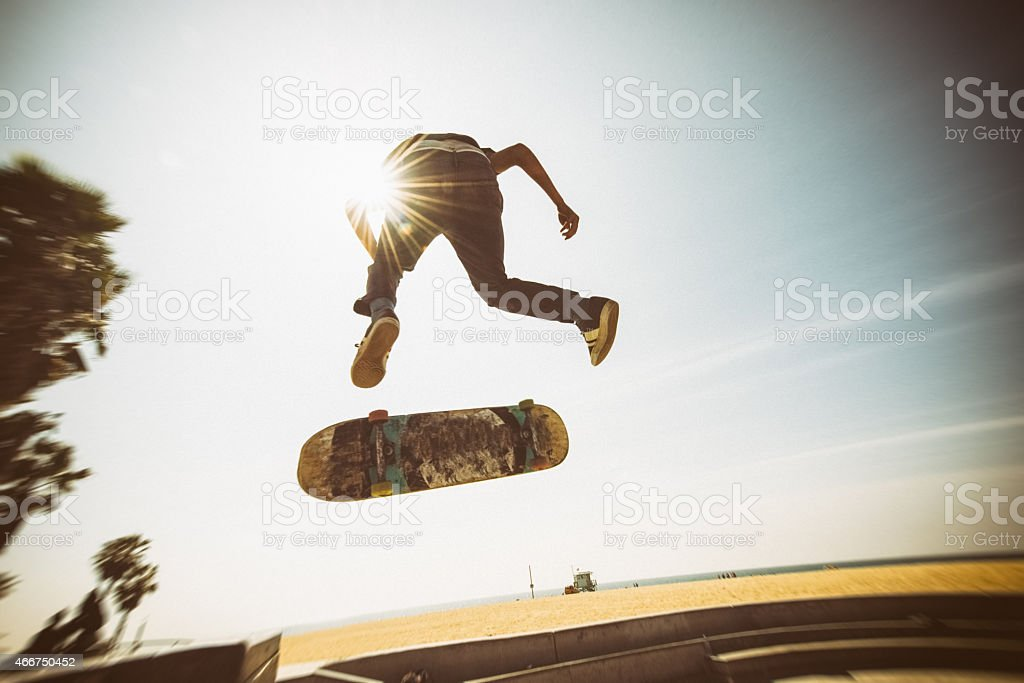 Teenager Skateboarding Venice Beach Skatepark in Los Angeles stock photo