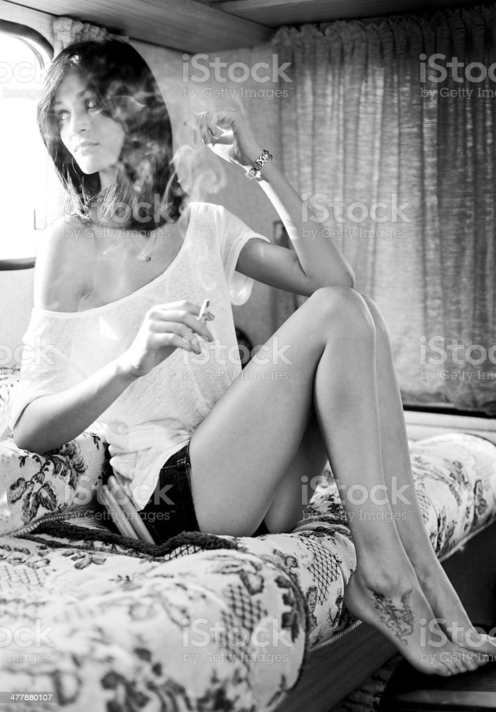 Teenager smoking stock photo