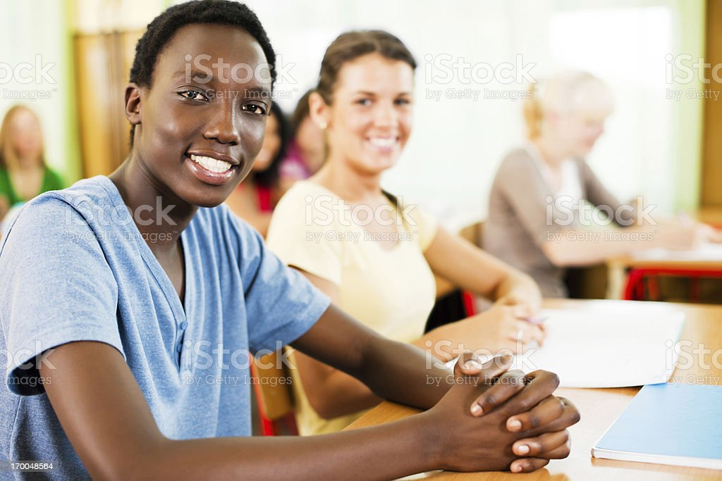 Teenager students in the classroom. royalty-free stock photo
