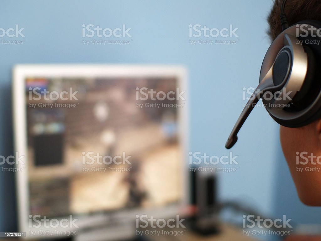 Teenager surfing the net stock photo