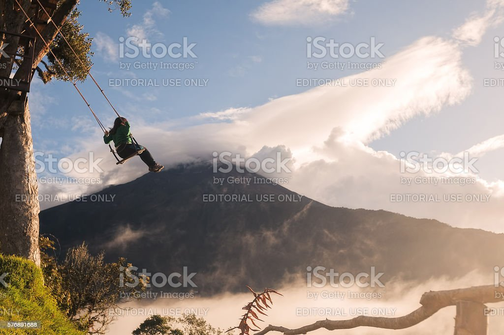 Teenager Swinging On A Unique Swing stock photo