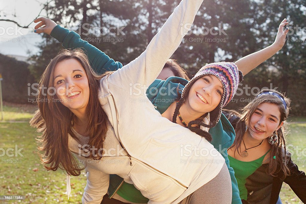 Teenager Together in the Park stock photo