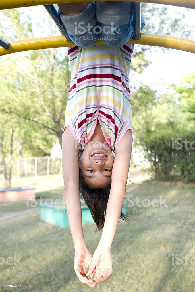Teenager upside down royalty-free stock photo