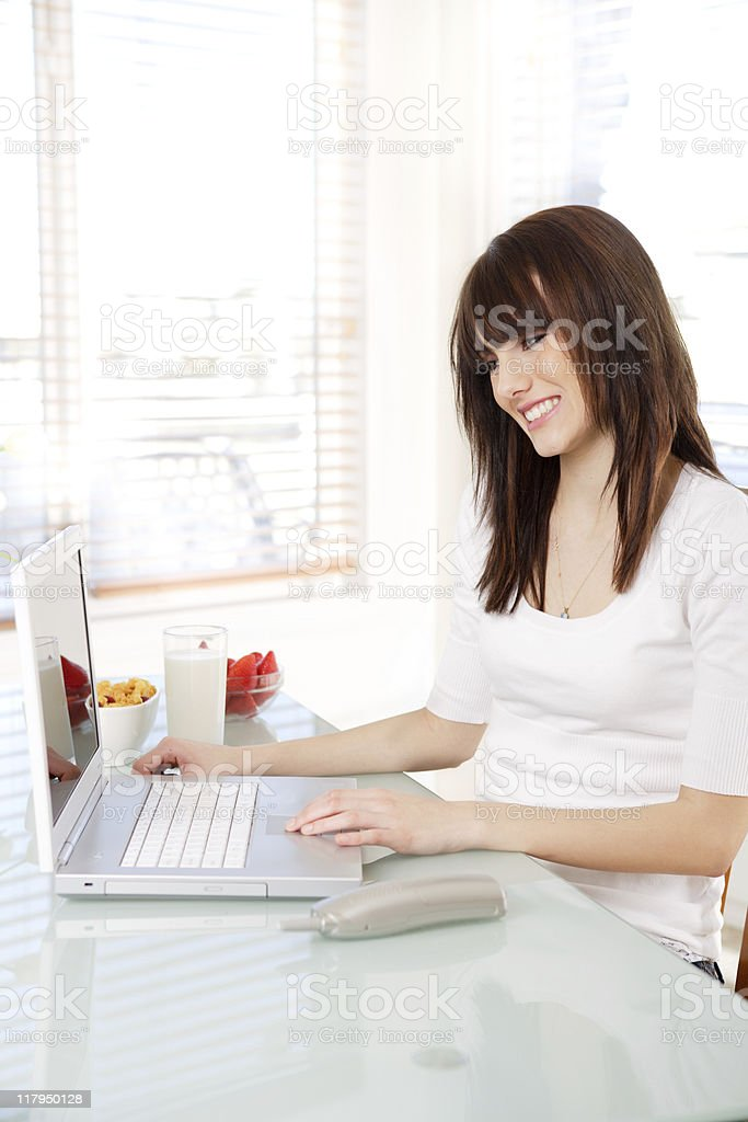 Teenager using the computer royalty-free stock photo