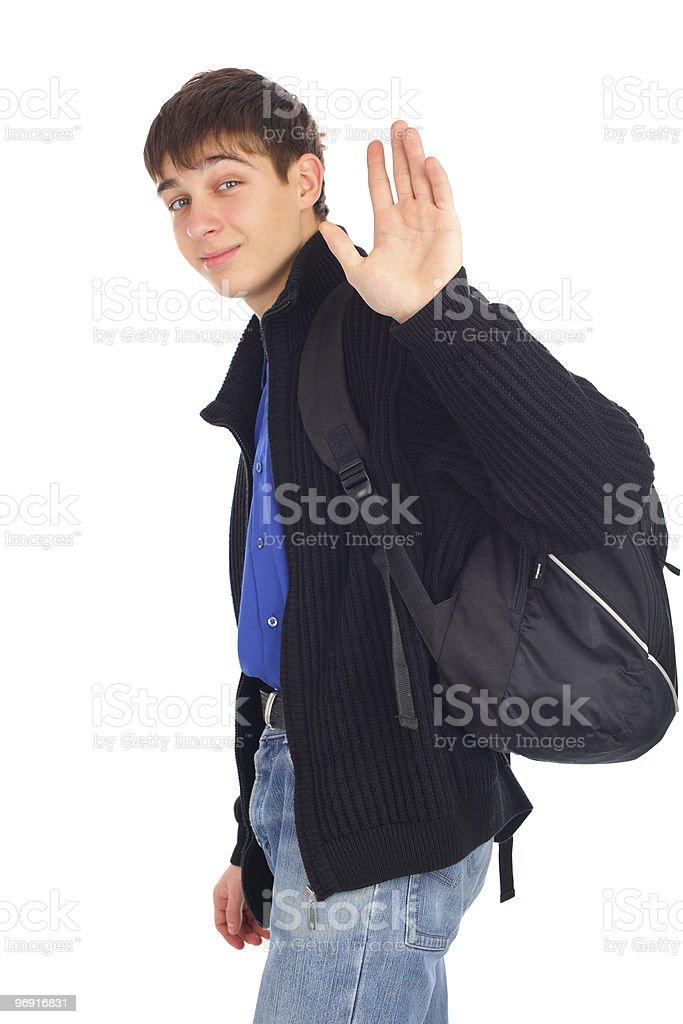 teenager wave goodbye stock photo