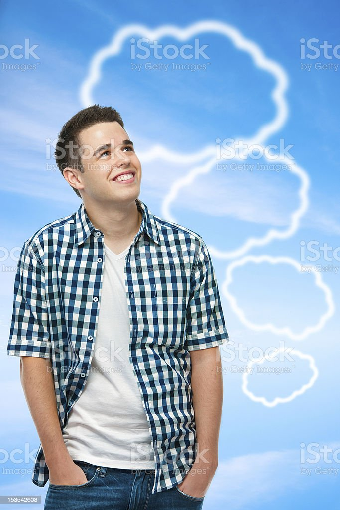 teenager with a blank thought bubbles royalty-free stock photo
