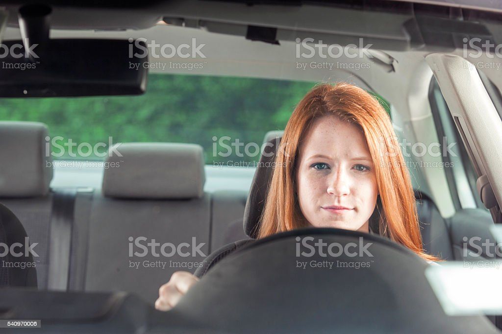 Teenager with car stock photo