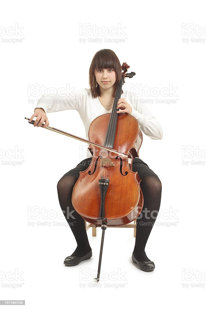 teenager with cello stock photo
