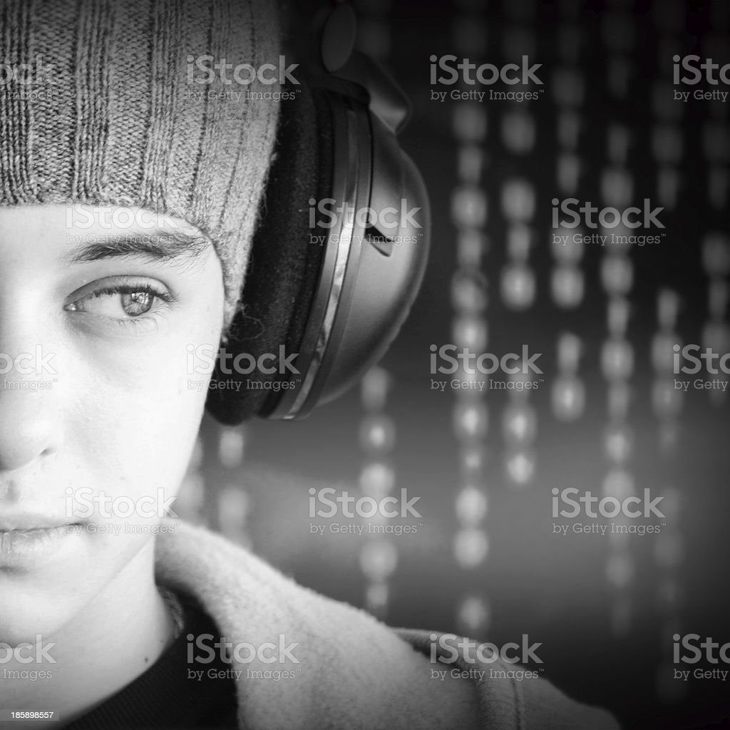 Teenager with headphones royalty-free stock photo