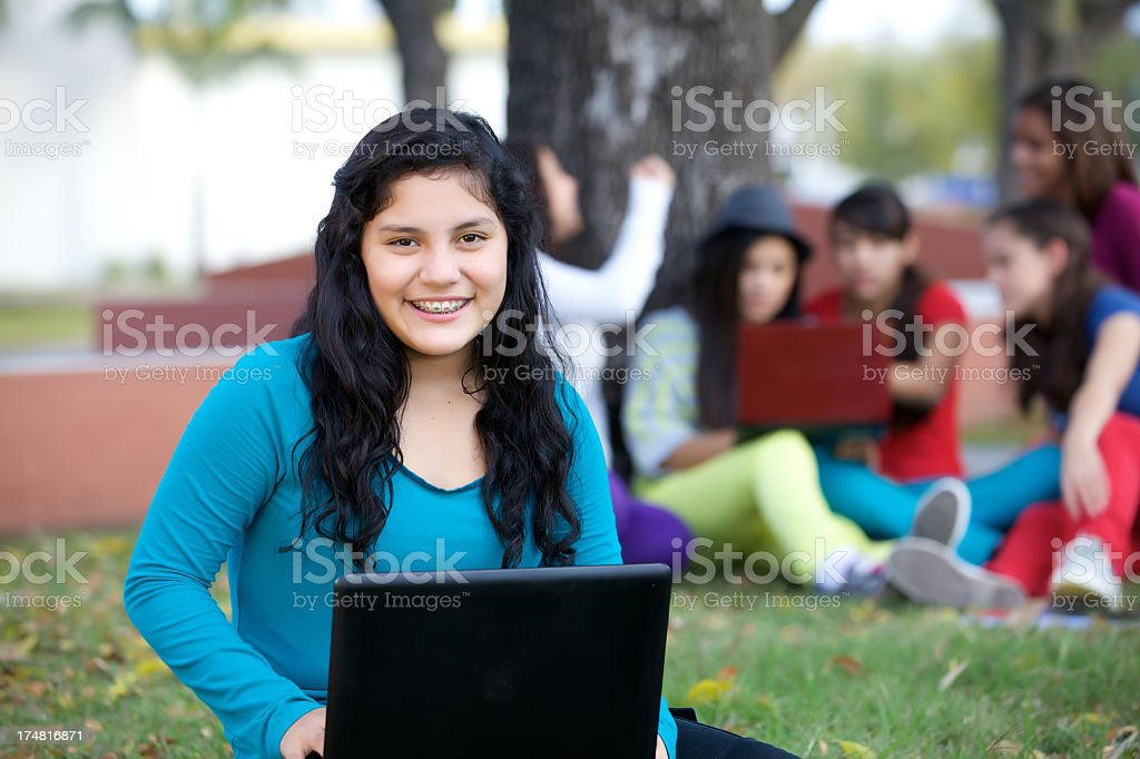 teenager with laptop royalty-free stock photo