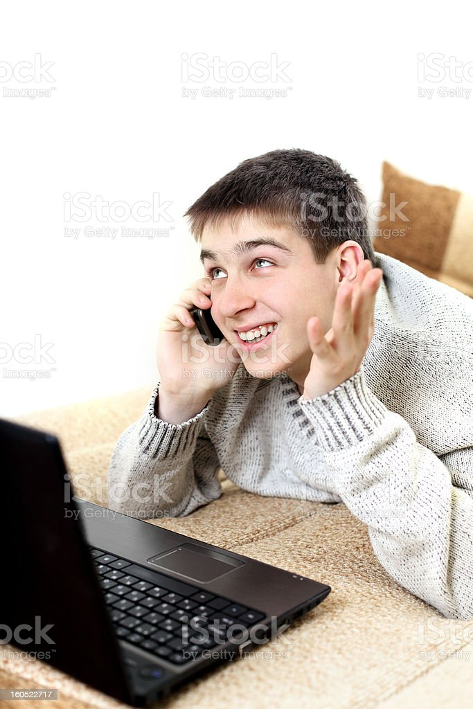 teenager with notebook and phone royalty-free stock photo