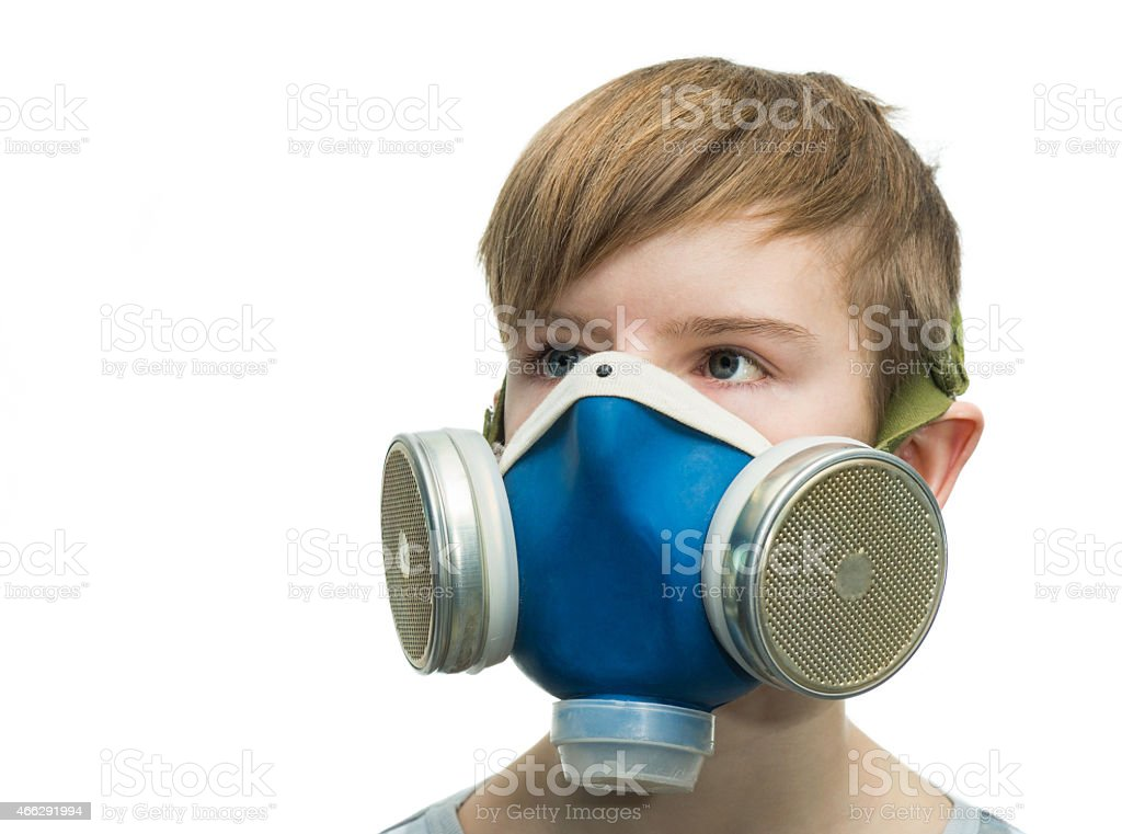 Teenager with respirator stock photo