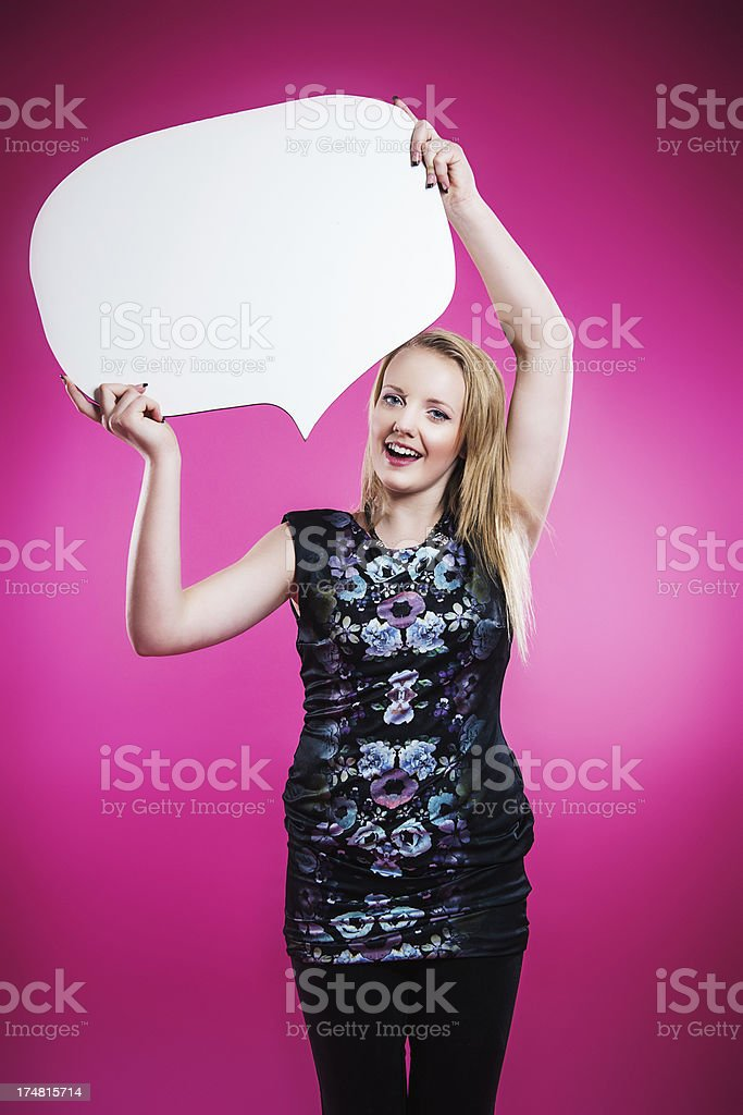 Teenager with speech bubble stock photo