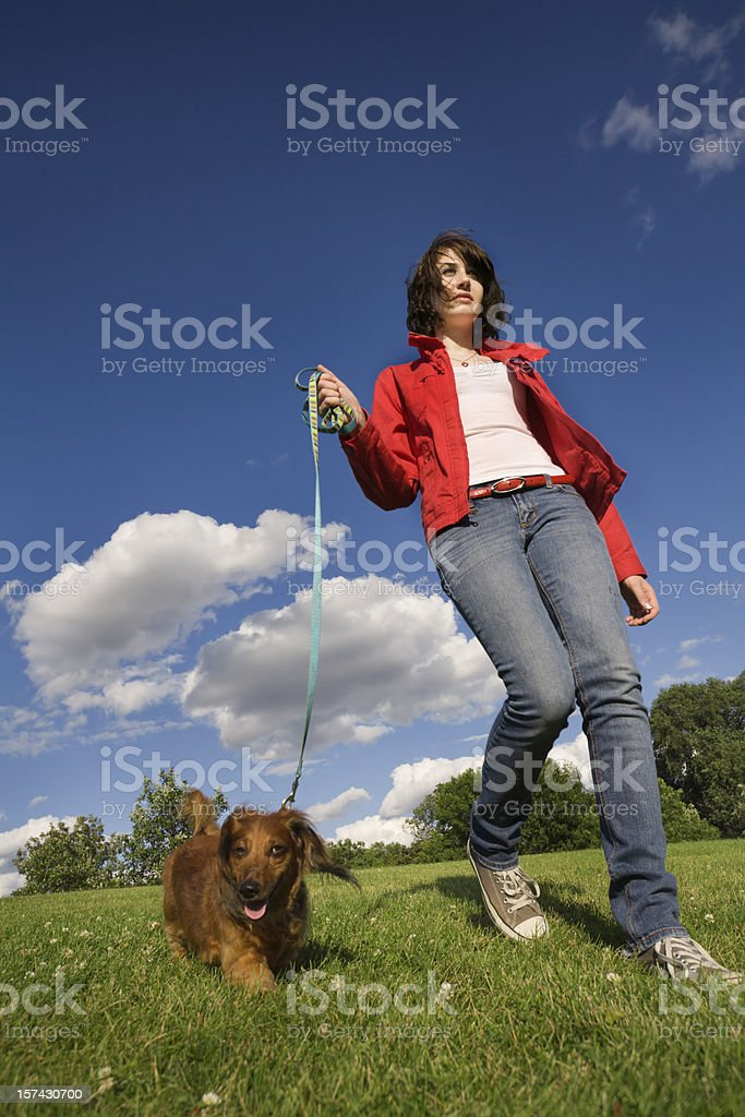 Teenager, Woman Walking Leashed Dachshund Dog Pet on Park Lawn royalty-free stock photo