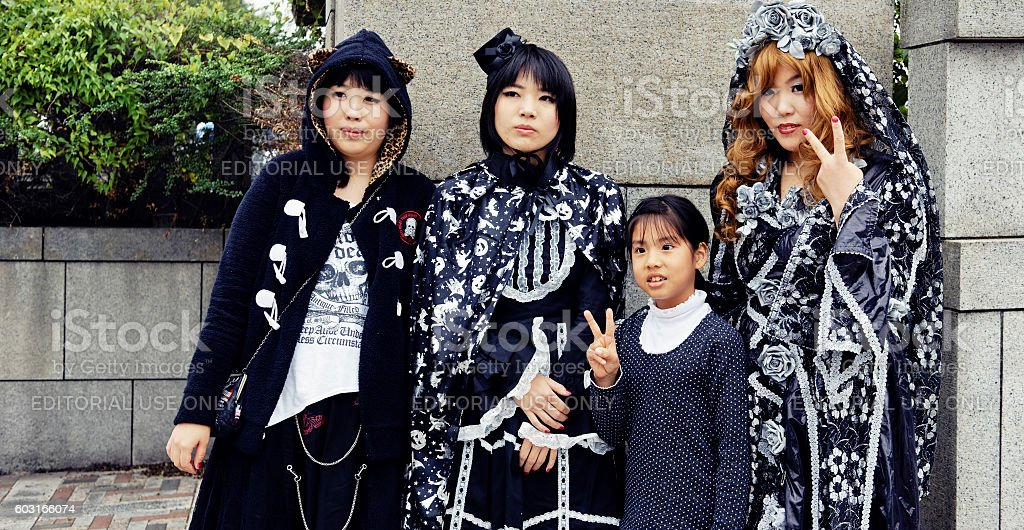 Teenagers and little girl Celebrating Halloween in Tokyo,Japan stock photo