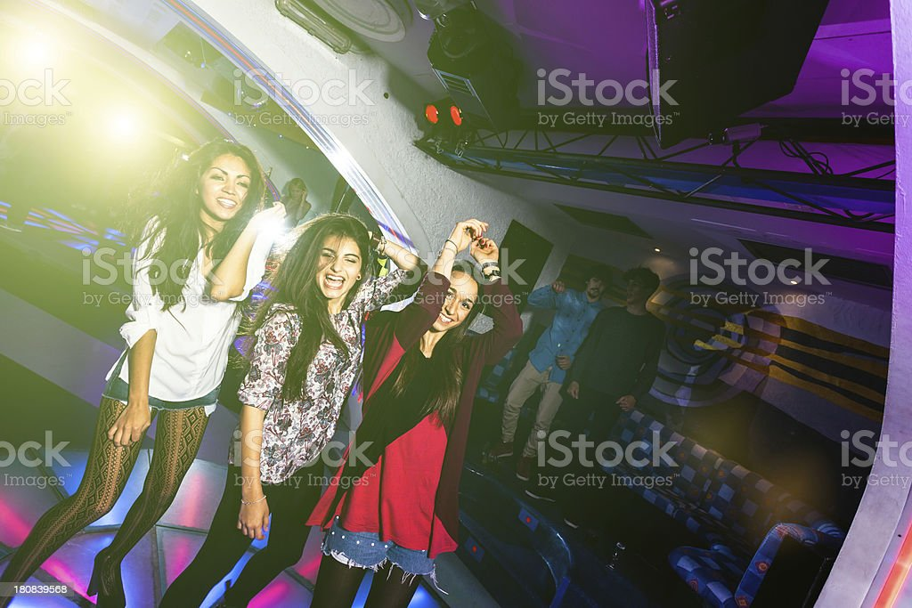 Teenagers Girls Dancing at Nightclub with Friends, Nightlife royalty-free stock photo