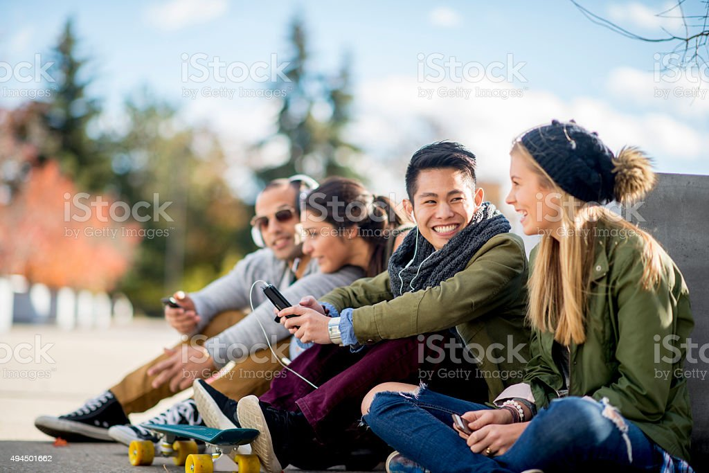 Teenagers Hanging Out In the City stock photo