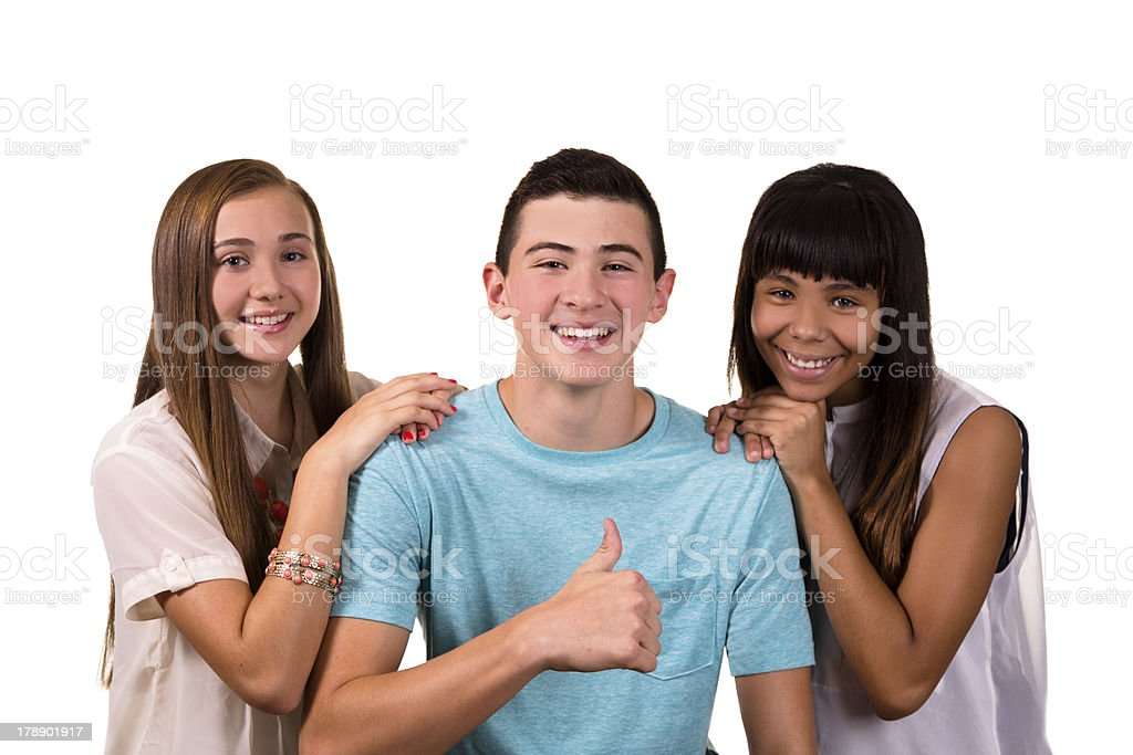Teenagers:  Happy smiling teens on white background. royalty-free stock photo