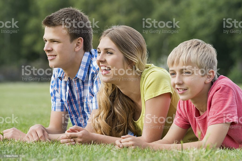 Teenagers in the park royalty-free stock photo