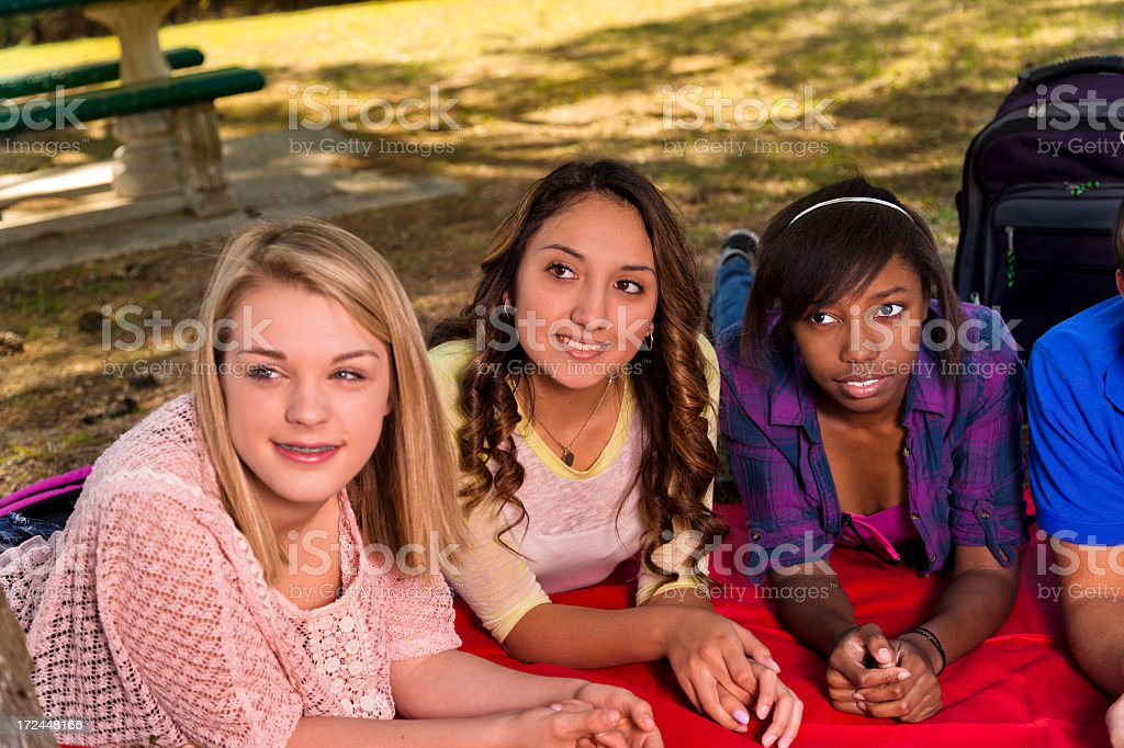 Teenagers:  Multi ethnic group of friends enjoying visiting in park royalty-free stock photo