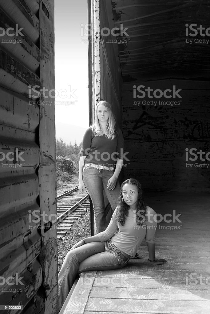 Teenagers on a Train royalty-free stock photo