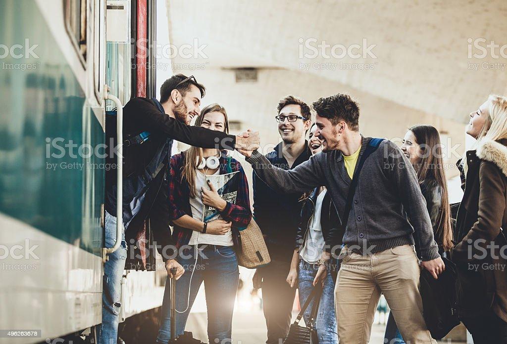 Teenagers on the railway station stock photo