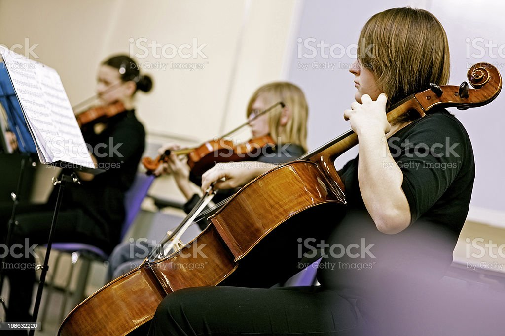 Teenagers Playing on Classical School Concert stock photo