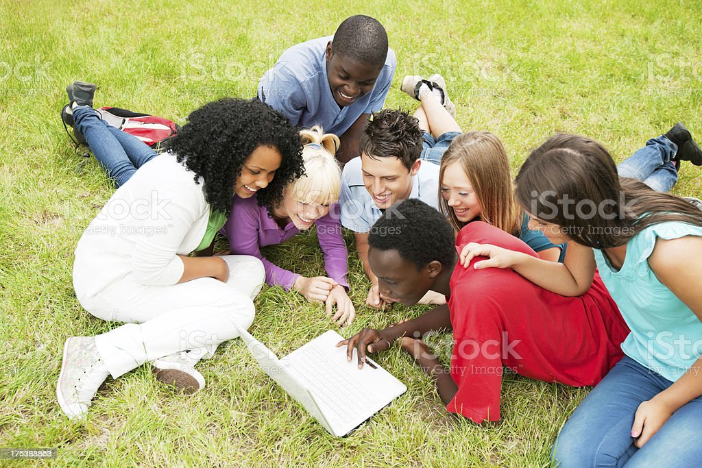 Teenagers sitting in the park and using laptop. royalty-free stock photo