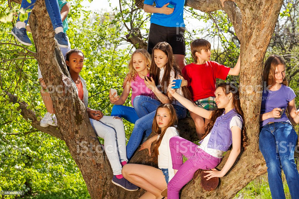 Teenagers sitting on benches of the tree stock photo