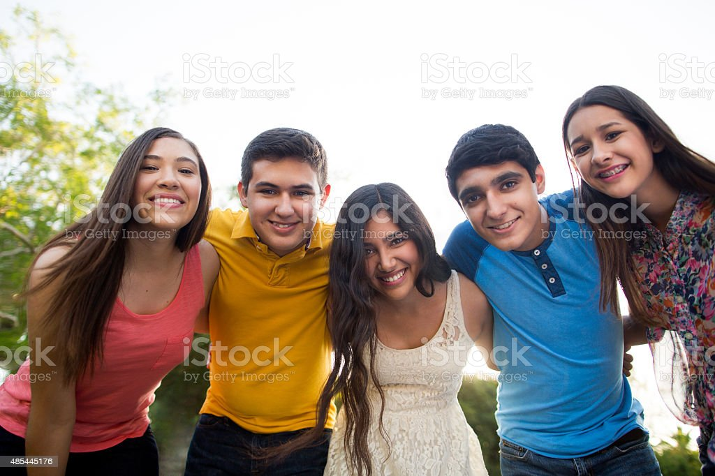 Teenagers smiling stock photo