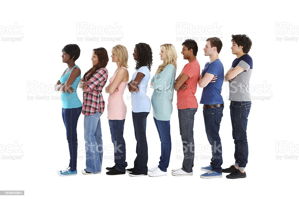 Teenagers Standing in Profile - Isolated royalty-free stock photo