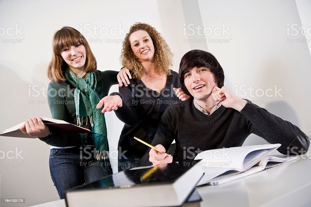 Teenagers studying textbooks together stock photo