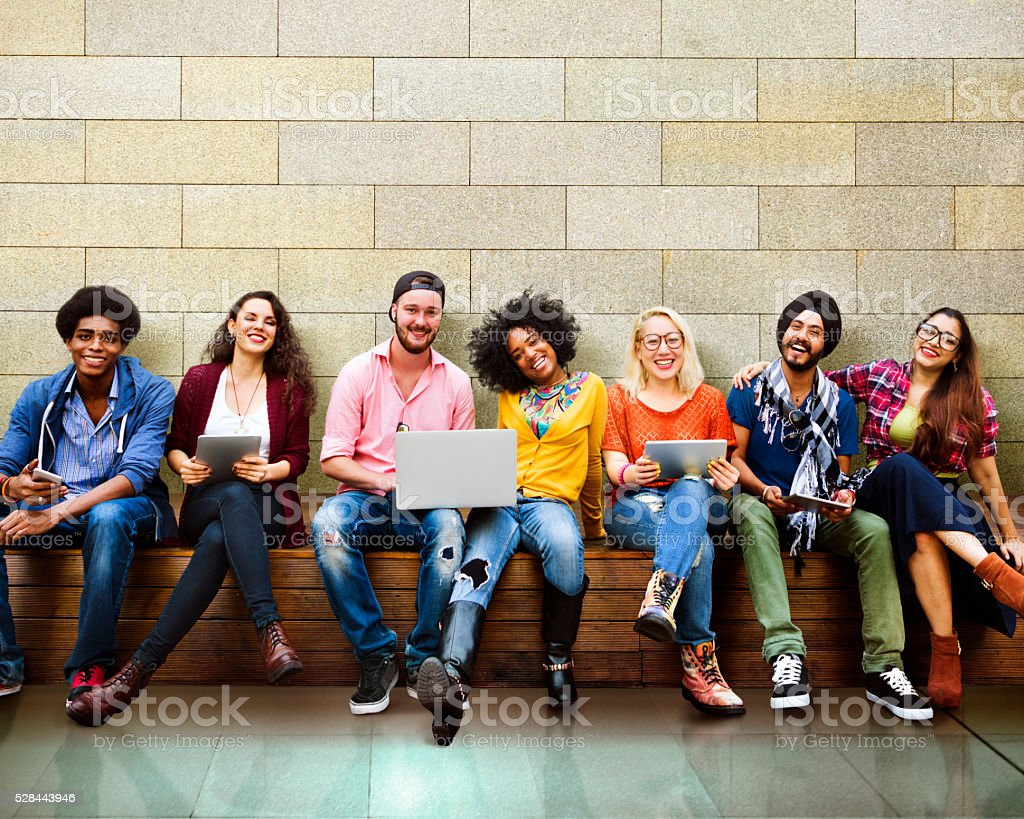 Teenagers Young Team Together Cheerful Concept stock photo