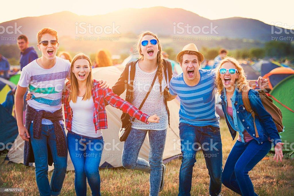 Teens at summer festival stock photo