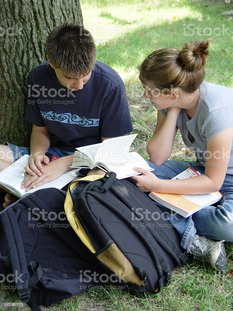 teens - book work stock photo