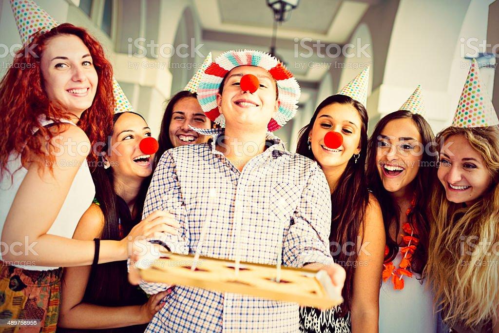Teens group celebrating Birthday stock photo