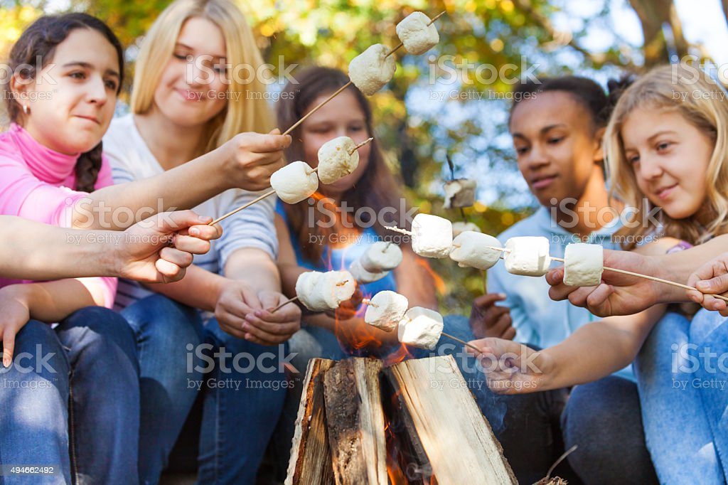 Teens hold marshmallow sticks on bonfire together stock photo