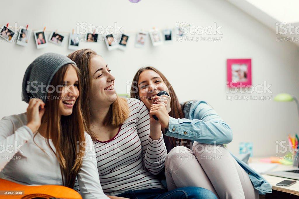 Teens Karaoke Party. stock photo